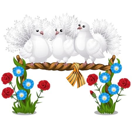 Boceto de un cartel con varias hermosas palomas blancas sentadas en una percha de mimbre y flores aisladas sobre fondo blanco. Ilustración de primer plano de dibujos animados de vector.