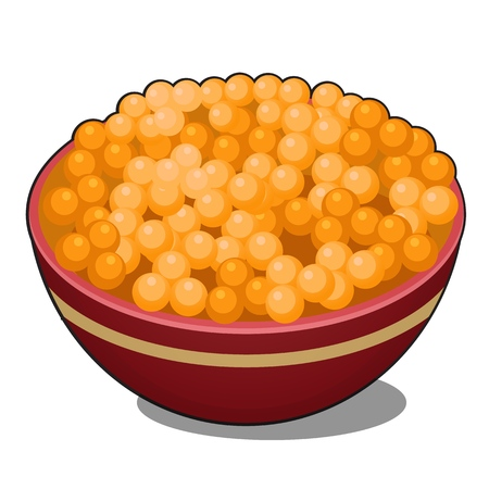 Clay bowl with red caviar isolated on white background. Vector cartoon close-up illustration