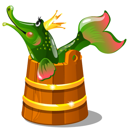 Green talking pike with a golden crown in a wooden bucket isolated on white background. The characters of Russian folk tales, upon pikes will. Vector cartoon close-up illustration