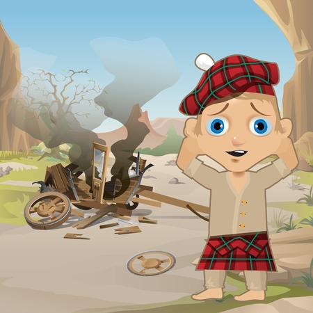 Lindo cartel en estilo salvaje oeste. Joven en el tradicional capot de tartán rojo escocés, Tam o Shanter, está de pie, sosteniendo su cabeza, junto al carro de madera derrumbado. Estilo occidental. Primer plano de dibujos animados de vector