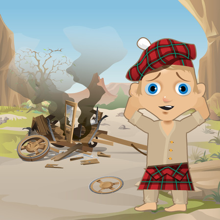 Cute Poster in Wild West Style. Young Man in Traditional Scottish Red Tartan Bonnet, Tam o Shanter, stands, holding his head, next to the collapsed wooden cart. Western style. Vector cartoon close-up Illustration