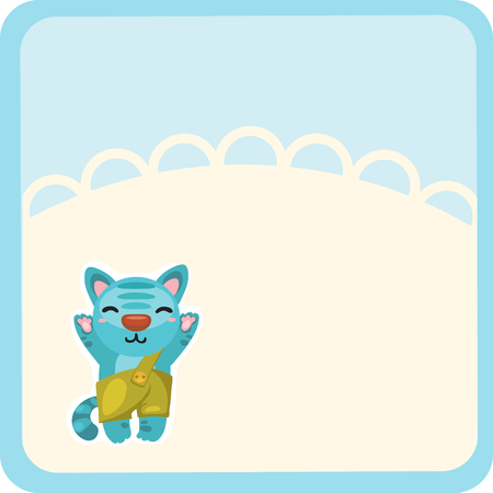Cute kitty welcomes waving isolated on white background. Vector cartoon close-up illustration