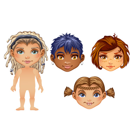 Set of drawn animated children isolated on white background. Set for modeling cute young peoples without clothes. Vector cartoon close-up illustration. Illustration