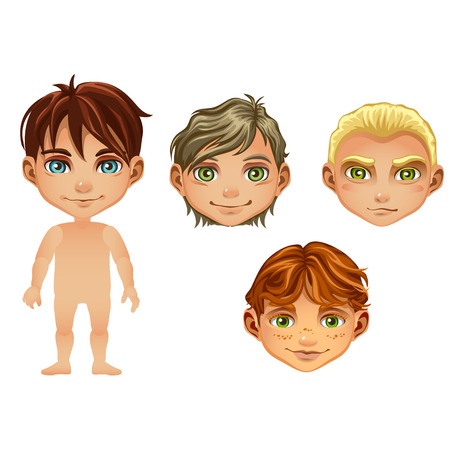 Set of drawn animated boys isolated on white background. Set for modeling cute young peoples without clothes. Vector cartoon close-up illustration.