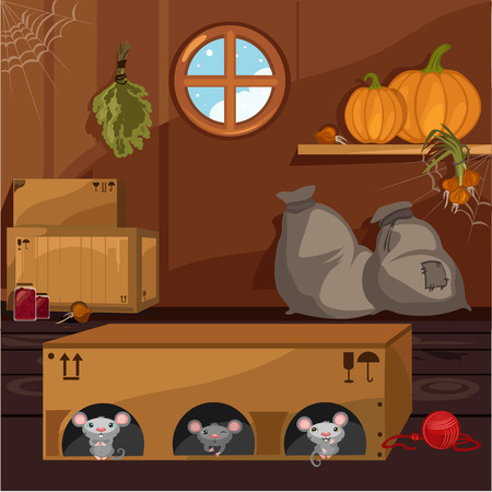 Inside the old farmhouse. The home furnishings. Mouse in a box arranged holes. Vector cartoon close-up illustration. 免版税图像 - 108745525
