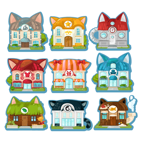 Set of cute colorful houses in the style of cats isolated on white background. Cat village. Vector cartoon close-up illustration Ilustração Vetorial