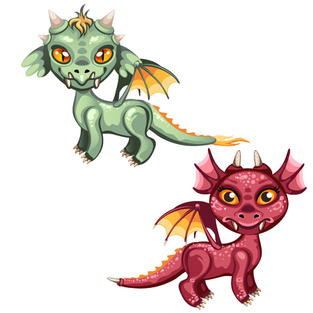 Set of cute winged dragons red and green color isolated on white background. Vector cartoon close-up illustration