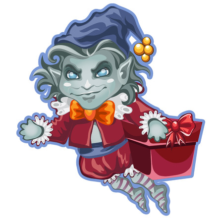 Flying demon with a festive box packed with gifts isolated on white background. Sketch for the poster, placard or banner in style of holiday all evil Halloween. Vector cartoon close-up illustration