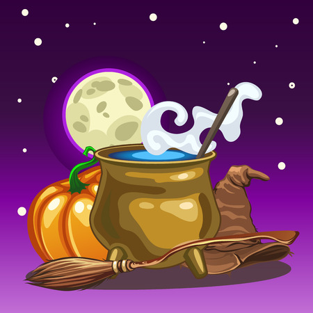 Poster in style of holiday all evil Halloween. Attributes of witchcraft and witch at midnight by the light of the moon. Copper pot with boiling water, hat, broom. Vector cartoon close-up illustration Illustration