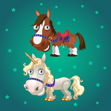 Cute poster with smiling racehorse and a unicorn with gold hooves. Vector cartoon close-up illustration.