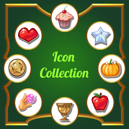 Brightly decorated poster with a collection of icons. Vector cartoon close-up illustration. Vectores