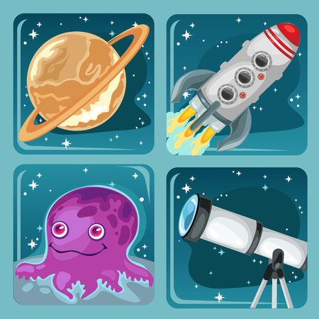 Cute poster on the theme of space exploration. Planet Saturn, flying rocket, astronomical telescope, alien purple octopus. Vector cartoon close-up illustration