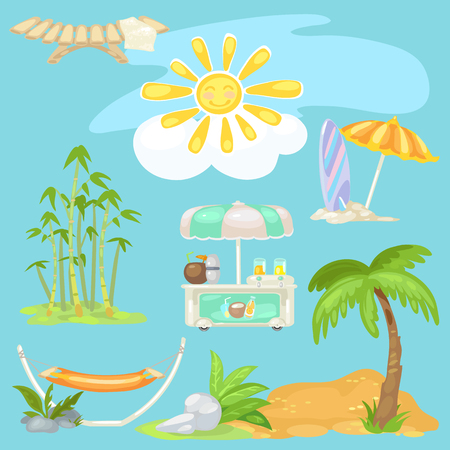 Cute poster on theme of travel. Bright sun on the beach, sunbed, palm tree on sandy beach, cooler of coconut cocktails and ice cream, bamboo, surfboard, parasol. Vector cartoon close-up illustration Illustration