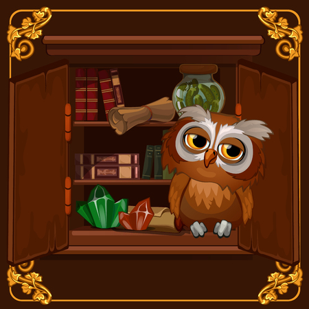 A poster with the image of a wise owl sitting on a bookshelf library with old books. Cartoon vector close-up illustration