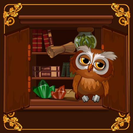 Plakat z wizerunkiem mądrej sowy siedzącej na regale bibliotecznym ze starymi książkami. Szczegół ilustracja kreskówka wektor