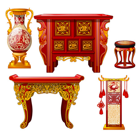 Set of ornate furniture in oriental style isolated on white background. Red floor vase, table with gold ornament. Stylish elements of vintage eastern interior. Vector cartoon close-up illustration
