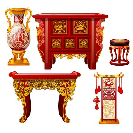 Zestaw ozdobnych mebli w stylu orientalnym na białym tle. Czerwony wazon podłogowy, stół ze złotym ornamentem. Stylowe elementy vintage wschodniego wnętrza. Ilustracja wektorowa z bliska kreskówka