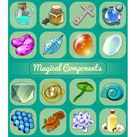 Set of magical items. Sketch for holiday stickers, cards or party invitation. Lavender oil, Ankh cross, magic beans, feather of fire bird, green toadstool,elixir. Vector cartoon close-up illustration. Banque d'images - 108893332