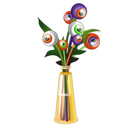 Insolito bouquet di occhi umani colorati isolati su sfondo bianco. Illustrazione del primo piano del fumetto di vettore