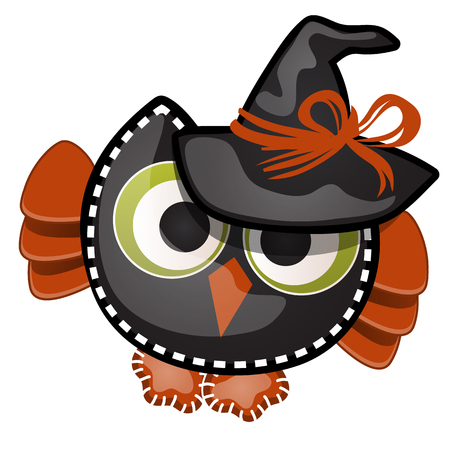 Funny witch owl with contours in the form of strokes and dotted lines isolated on white background. Idea for a sticker or sew-on patches in the style of Halloween. Vector cartoon closeup illustration  イラスト・ベクター素材