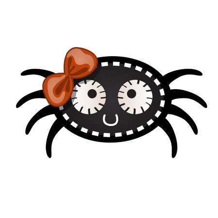 Funny black spider with contours in the form of strokes and dotted lines isolated on white background. Idea for a sticker or sew-on patches in style of Halloween. Vector cartoon close-up illustration
