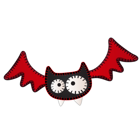 Funny flying bat with contours in the form of strokes and dotted lines isolated on white background. Idea for a sticker or sew-on patches in style of Halloween. Vector cartoon close-up illustration  イラスト・ベクター素材