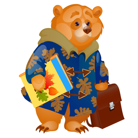 Cute animated brown bear holding in its paws a textbook and backpack isolated on white background. Vector cartoon close-up illustration Ilustração