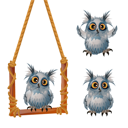 Cute fluffy grey owl sits on a swinging perch isolated on white background. Sketch for a poster or celebration card for the holiday of all evil spirits Halloween. Vector cartoon close-up illustration