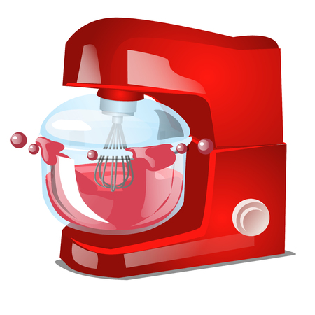 Red food processor or stand mixer, kitchen electrical equipment for cooking isolated on white background. Vector cartoon close-up illustration Illustration