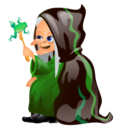 Old gray-haired witch in a black cloak eats with a fork frog isolated on white background. Sketch for a poster or card for holiday of all evil spirits Halloween. Vector cartoon close-up illustration