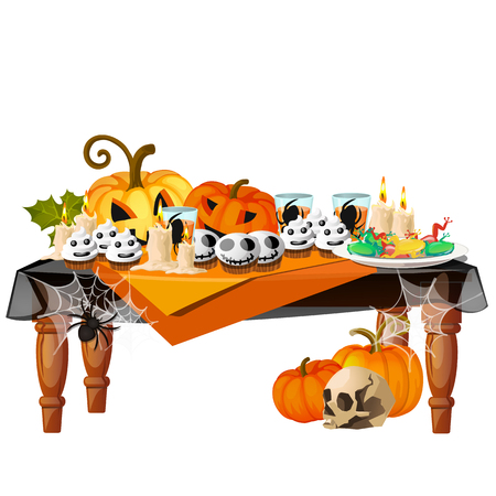 Festive table with burning candles and themed delicacies isolated on white background. Sketch for a poster or card for the holiday of all evil spirits Halloween. Vector cartoon close-up illustration. Иллюстрация