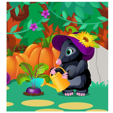 Cute animated mole watering beets from watering can. Vector cartoon close-up illustration. Foto de archivo - 109192790