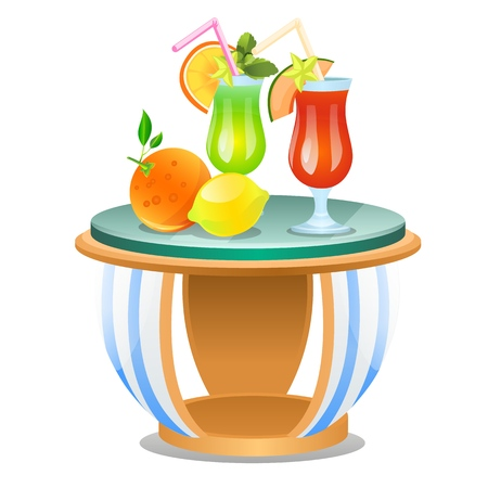 Small table with set of fresh fruit drinks isolated on white background. Vector cartoon close-up illustration Stock Illustratie