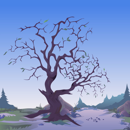 Dark withered tree in twilight. Sketch for greeting card, festive poster or party invitations of holiday of evil spirit Halloween. Solitary tree with a bare trunk. Vector cartoon close-up illustration Illustration