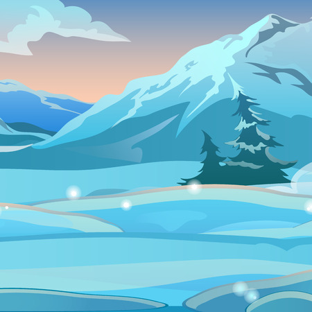 Two bent spruce on the background of snow on a clear frosty morning. Sunrise in the snowy mountains. Sketch for Christmas and New year card, festive poster or party invitations. Vector illustration