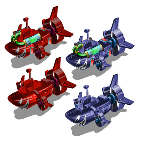 Set of submarines in the style of multi-colored toothy fish isolated on white background. Vector illustration Illustration