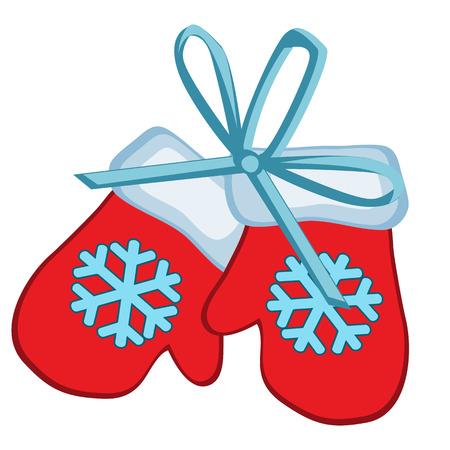 Juguete de Navidad en forma de guantes rojos de invierno con copo de nieve aislado sobre fondo blanco. Ilustración de vector.