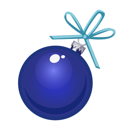 Christmas toy in the form of a blue glass ball isolated on white background. Vector cartoon close-up illustration Ilustração