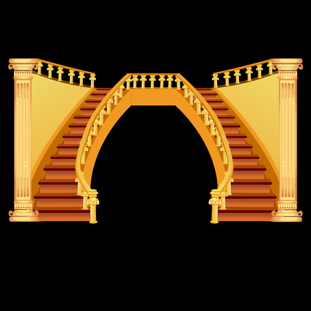Vintage staircase isolated on a black background. Vector illustration. Stockfoto - 110986795