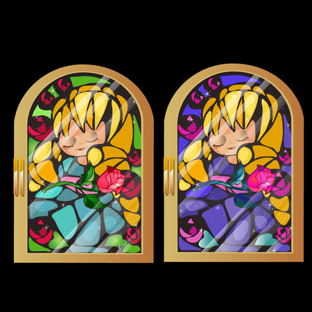 Two vintage stained glass window with a picture of a girl isolated on black background. Vector illustration.