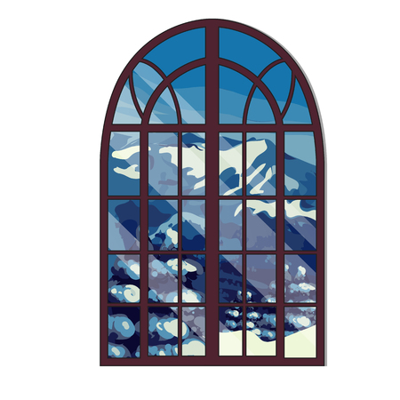 The window overlooking the snow-capped mountains in winter isolated on white background. Interior design luxury country house. Vector illustration