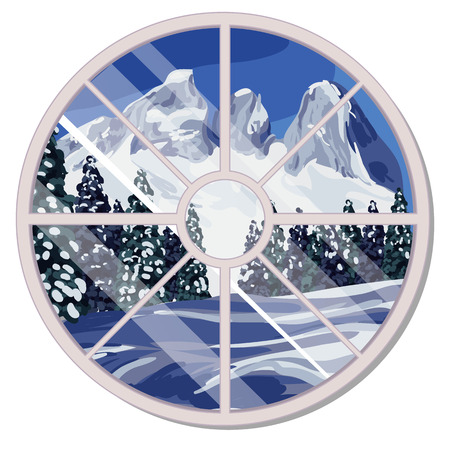 The round window overlooking the snow-covered mountain slope and coniferous forest in winter isolated on white background. Interior design luxury country house. Vector cartoon illustration