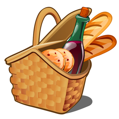 Picnic wicker basket with food product, oatmeal cookies, bottle of wine, fresh loaf isolated on white background. Vector illustration.