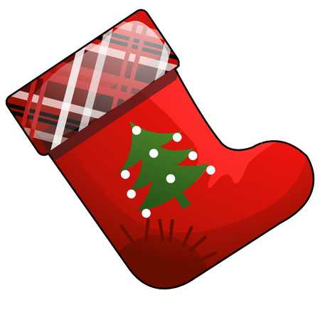 Christmas cartoon red boot of Santa Claus with patch isolated on white background. Vector cartoon close-up illustration Иллюстрация