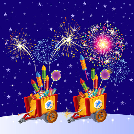 Beautiful colorful holiday fireworks in the evening sky. The attributes of the New year. Vector cartoon close-up illustration Reklamní fotografie