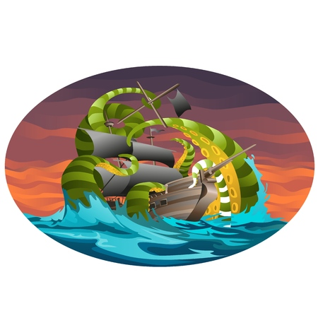 Oval poster with sea ship captured by octopus tentacles. Illustration