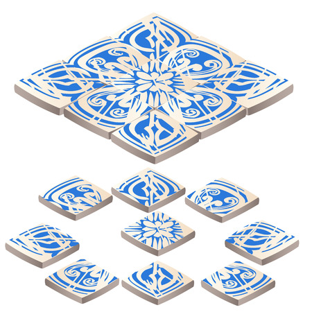 Set of floor tile with ornament blue color in the style of the frosty patterns isolated on white background. Vector cartoon close-up illustration.