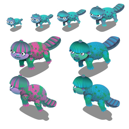 Set of fancy underwater animals isolated on white background. Vector illustration.
