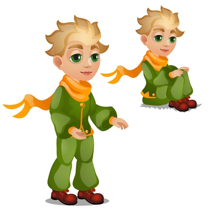 Animated blond boy in green clothes isolated on white background. Vector cartoon close-up illustration. Stock Photo