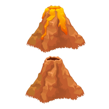 The eruption of a volcano isolated on white background. Vector cartoon close-up illustration. Foto de archivo - 111931585